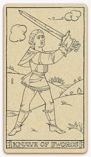 Knave of Swords card - inked illustration - In the spirit of the Marseille tarot - minor arcana - design and illustration by Cesare Asaro - Curio & Co. (Curio and Co. OG - www.curioandco.com)