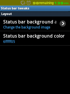 Status Bar Background Custom Color Chooser
