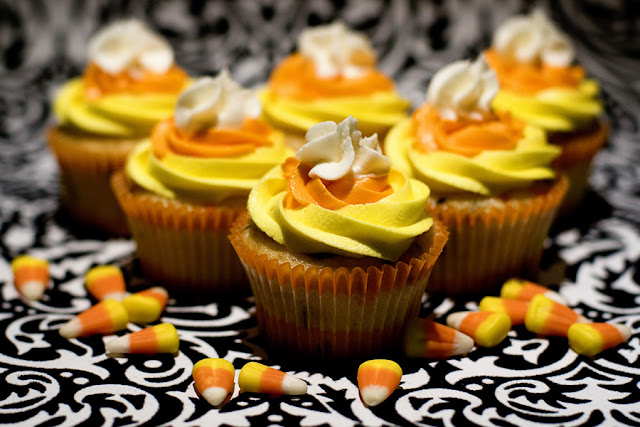 Candy Corn Cupcakes with Buttercream Frosting