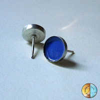 Sterling Silver and Fine Silver Enameled Post Earrings in Pantone Color Monaco Blue