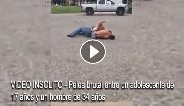 VIDEO INSOLITO - Pelea brutal entre un adolescente de 17 años y un hombre de 34 años