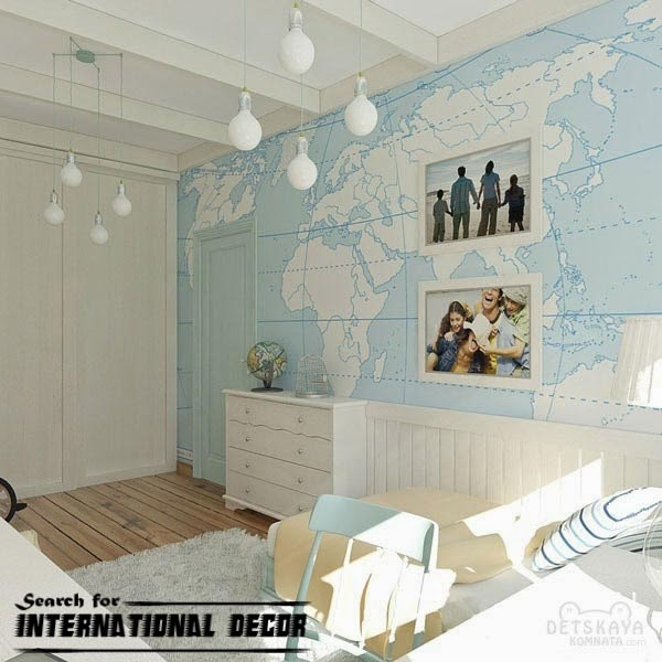 childrens wallpaper,nursery wallpaper, globe map wallpaper