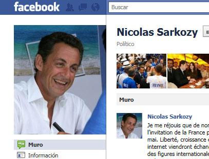 Pagina de Sarkozy en Faceboock