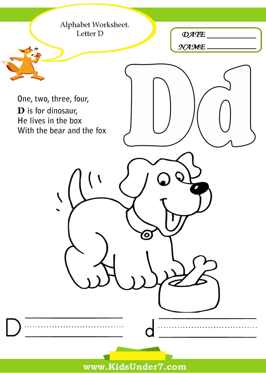 Kids Under 7 Alphabet – Letter D Worksheets Kindergarten