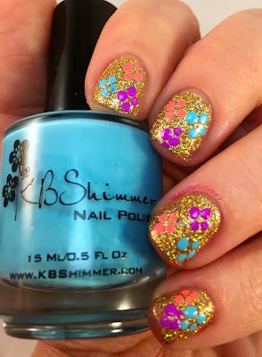 nail challenge collaboritve, kb shimmer, summer 2015, spring flowers, glitter, neons, nail polish
