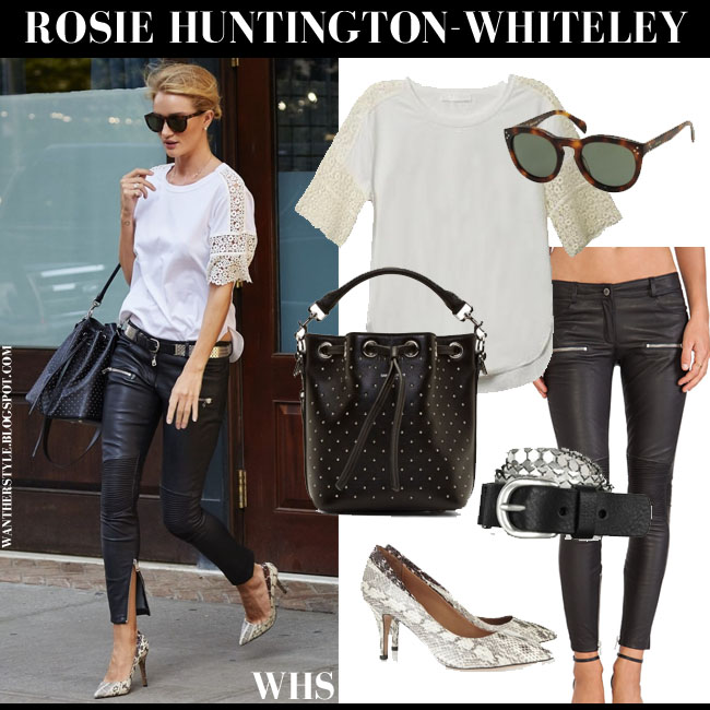 Rosie Huntington-Whiteley in white lace sleeve Chloe top, black leather Anine Bing pants, snake Isabel Marant Pealman pumps and bucket bag Saint Laurent what she wore june 9