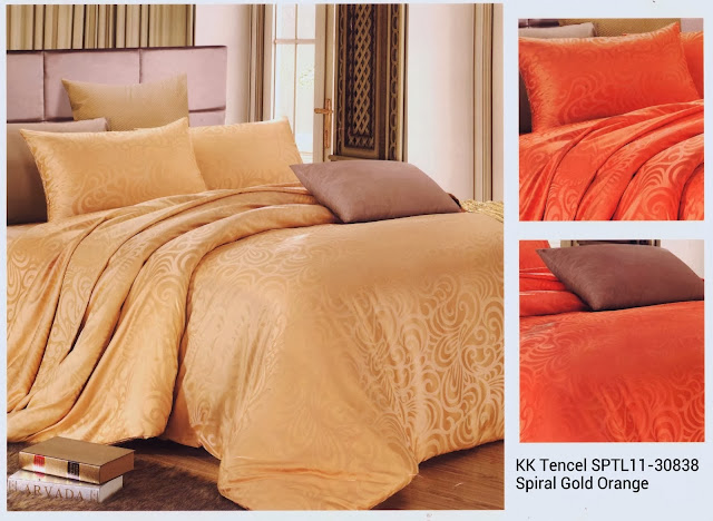 Sprei King Koil Tencel Motif Spiral Gold Orange