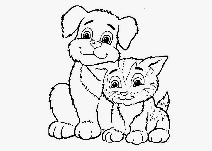 Free coloring pages of cute cute dogs and cats