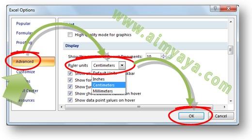 Gambar: Cara mengatur Ruler unit untuk penggunaan unit standar di Microsoft Excel