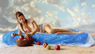 Mujeres Pintura Hiperrealismo Contemporaneo