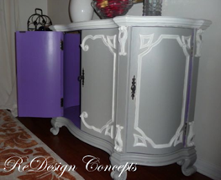PAINTED FURNITURE WITH INSIDE PAINTED