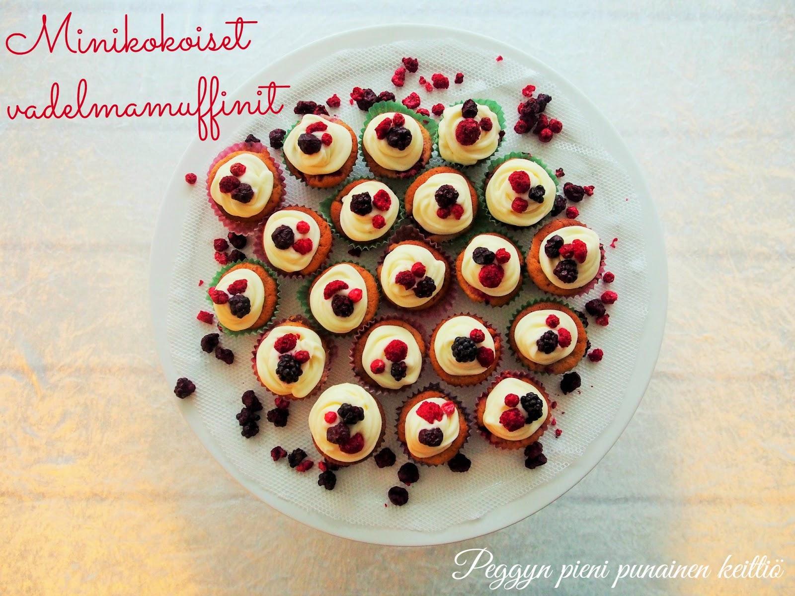 Minikokoiset vadelmamuffinit  Peggyn pieni punainen keittiö