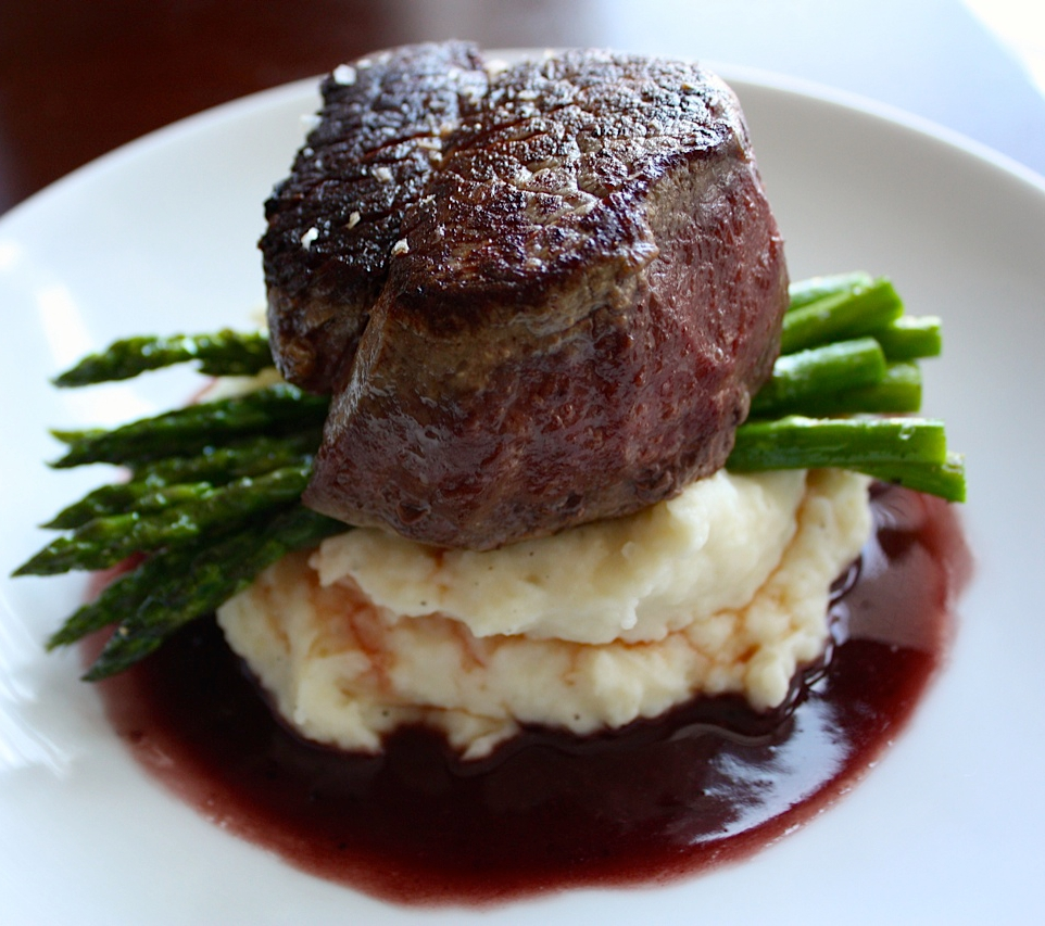 Pan Seared Filet Of Beef With Red Wine Pan Sauce + Roasted Asparagus +  Garlic Mash