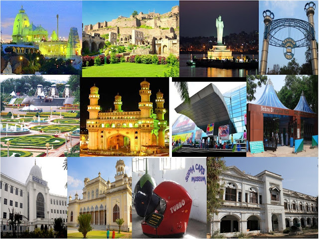 Birla mandir,Golconda fort,Hussain Sagar,Lumbini Park,NTR Gardens,Charminar,I-Max theater,Zoo park,Salarjung museum,chowmahalla palace,Sudha car Museum,H.E.H Nizam Museum