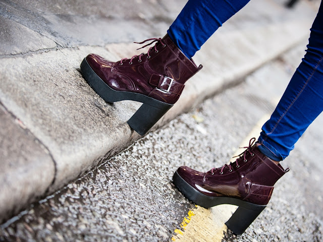 NEW LOOK PATENT LACE UP BOOTS