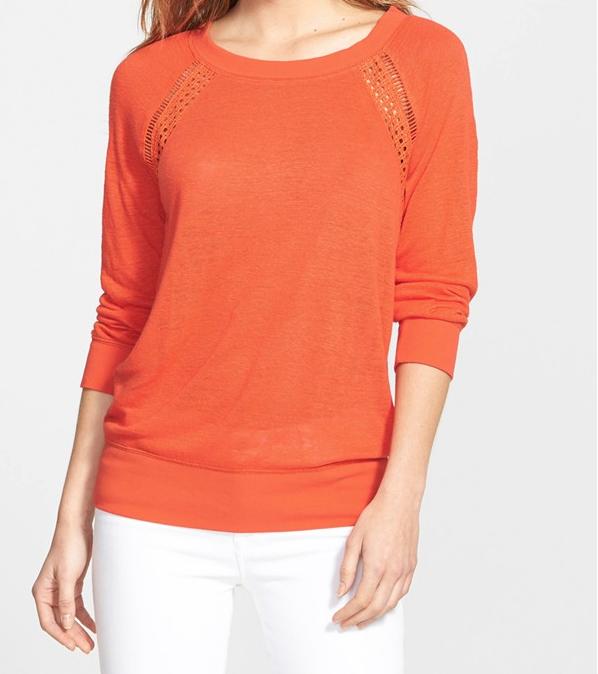 Summer Fashion - Halogen Lace Inset Linen Blend Sweater