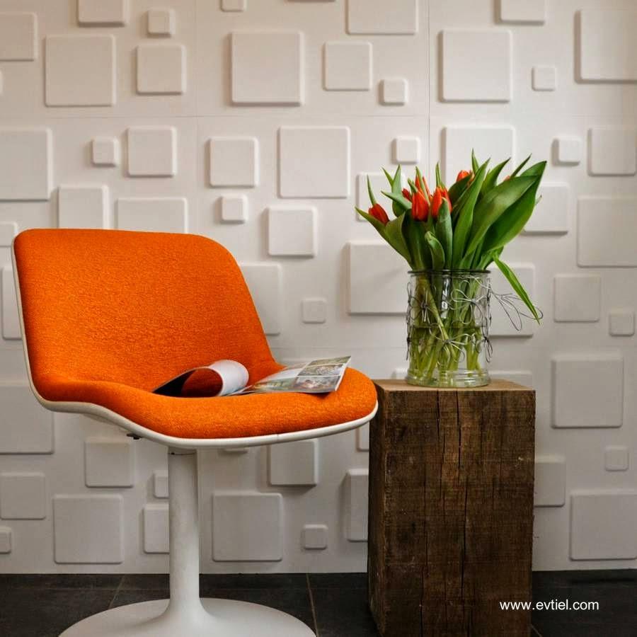 Motivo decorativo geométrico blanco sobrerrelieve en pared interior