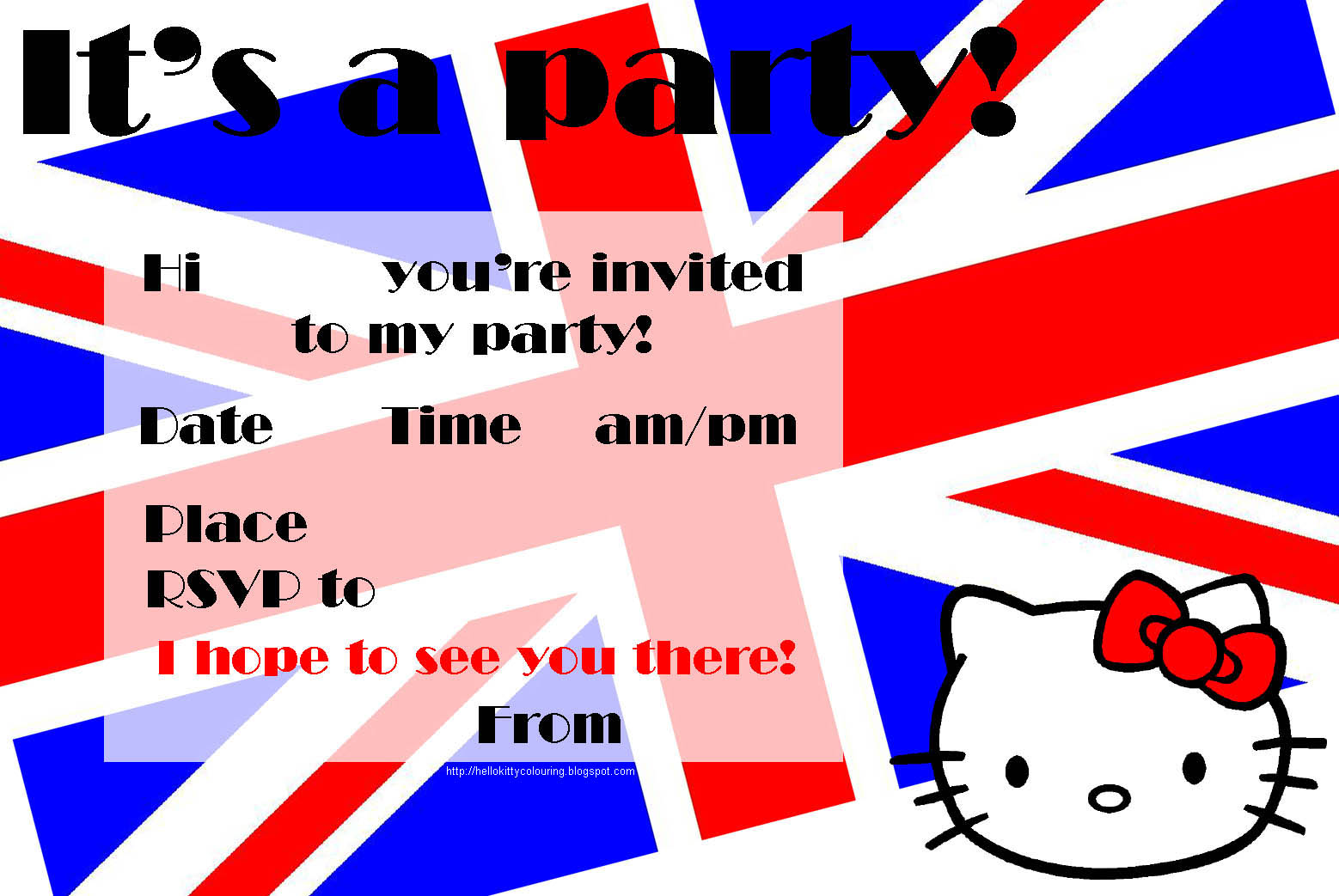 HELLO KITTY BRITISH FLAG UNION JACK INVITATION
