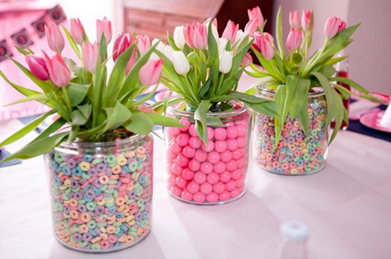 Candy Baby Shower Flower Centerpieces