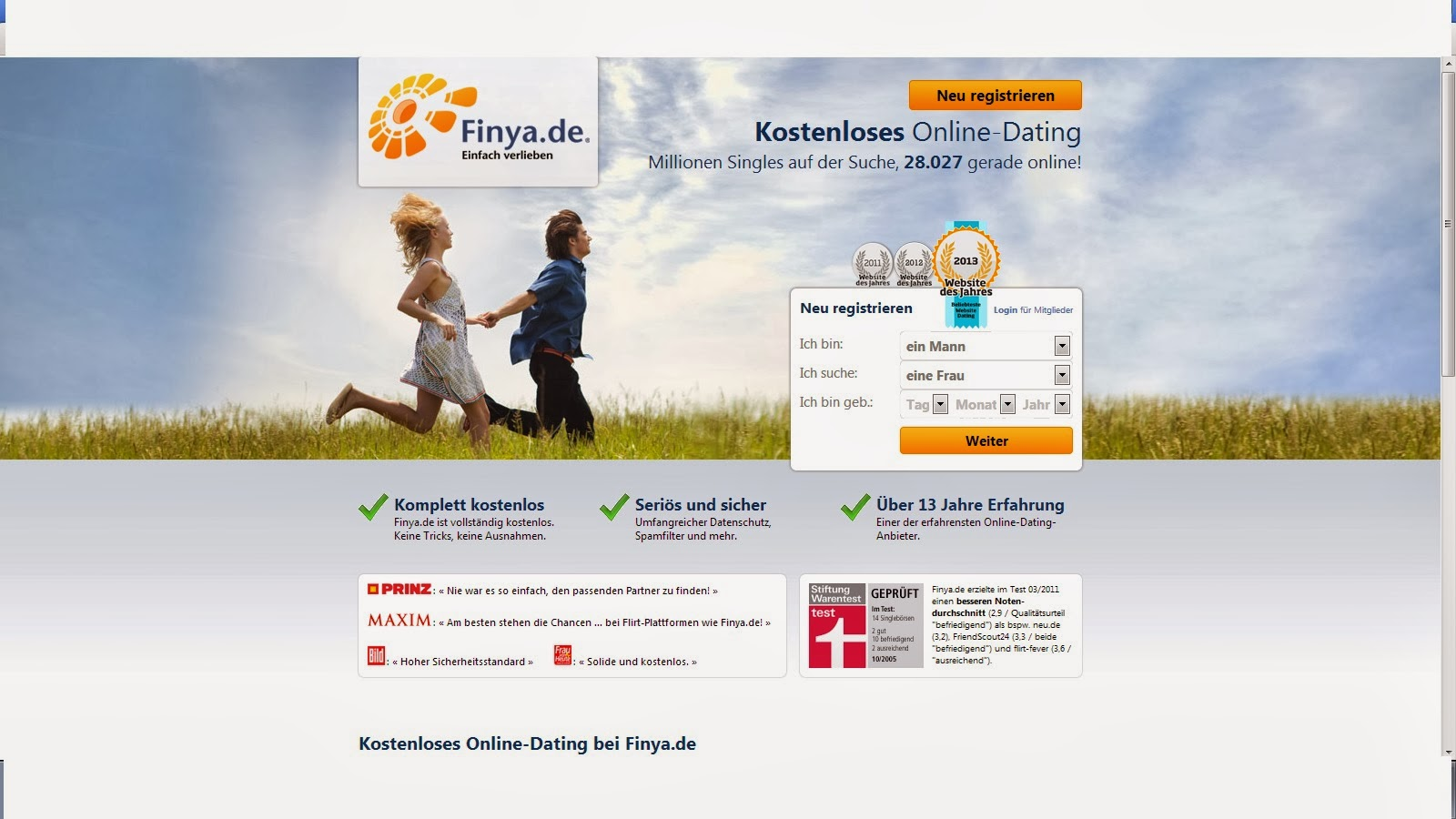 Kostenlose Partnersuche und Partnervermittlung bei Finya. Vielfacher Testsieger.