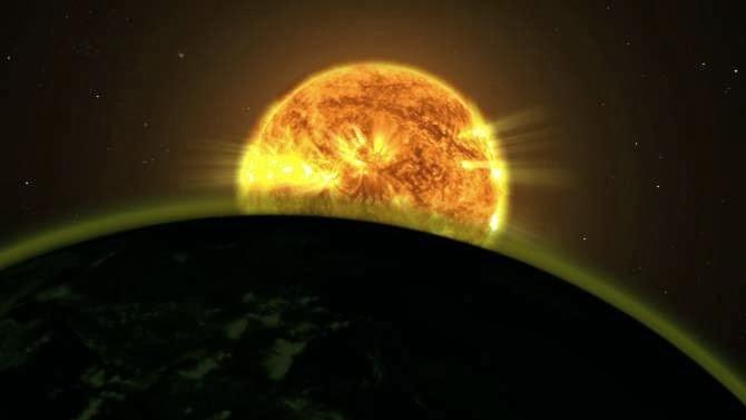 Resultado de imagen de Recreación artística del planeta WASP-19b y de su estrella madre
