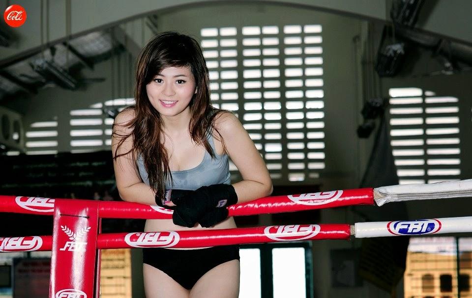 Hotgirl Châu Dương sexy với trang phục boxing 1