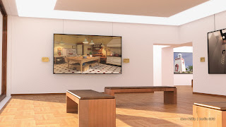 Museum, gallery with soem of my works, rendered with iray