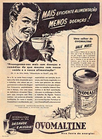 Propaganda do Ovomaltine na década de 40. Propaganda da Revista O Cruzeiro.