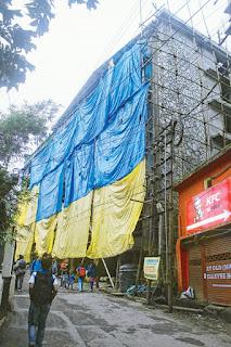 under-construction building on Nehru Road  Darjeeling