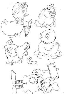 Riscos para pintura de patinhos e galinhas