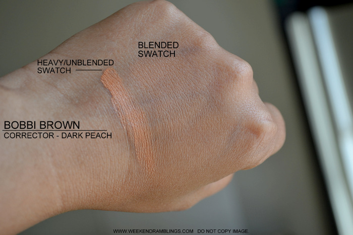 Bobbi Brown Makeup Cosmetics Corrector Undereyes Darker Skin Concealer Dark Peach Review Swatches Photos How to Use Indian Beauty Blog