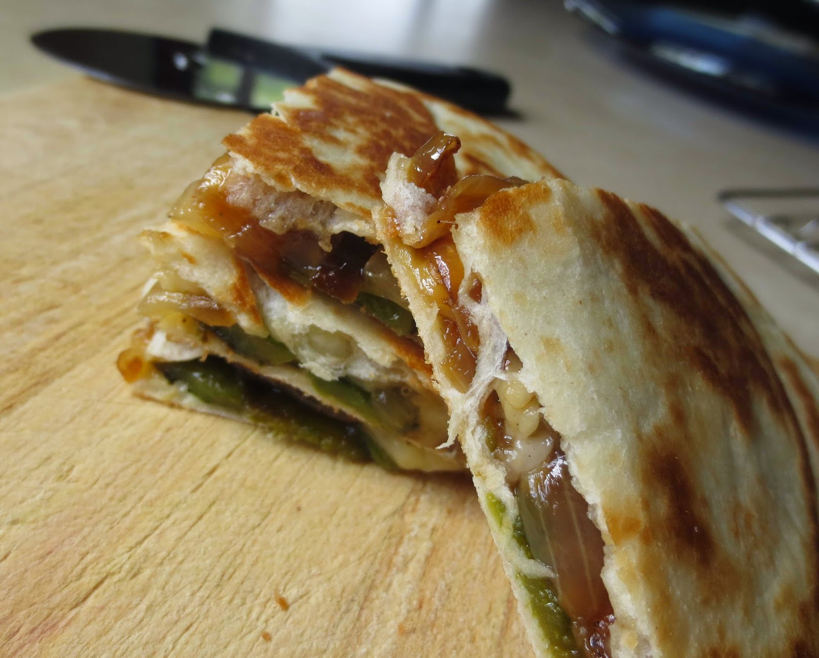 Planet of the Crepes: Poblano and onion quesadillas