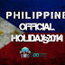 Philippine Official 2014 Calendar: List of Holidays and long Weekends
