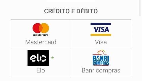 ACEITAMOS CARTOES DE DÉBITO E CREDITO