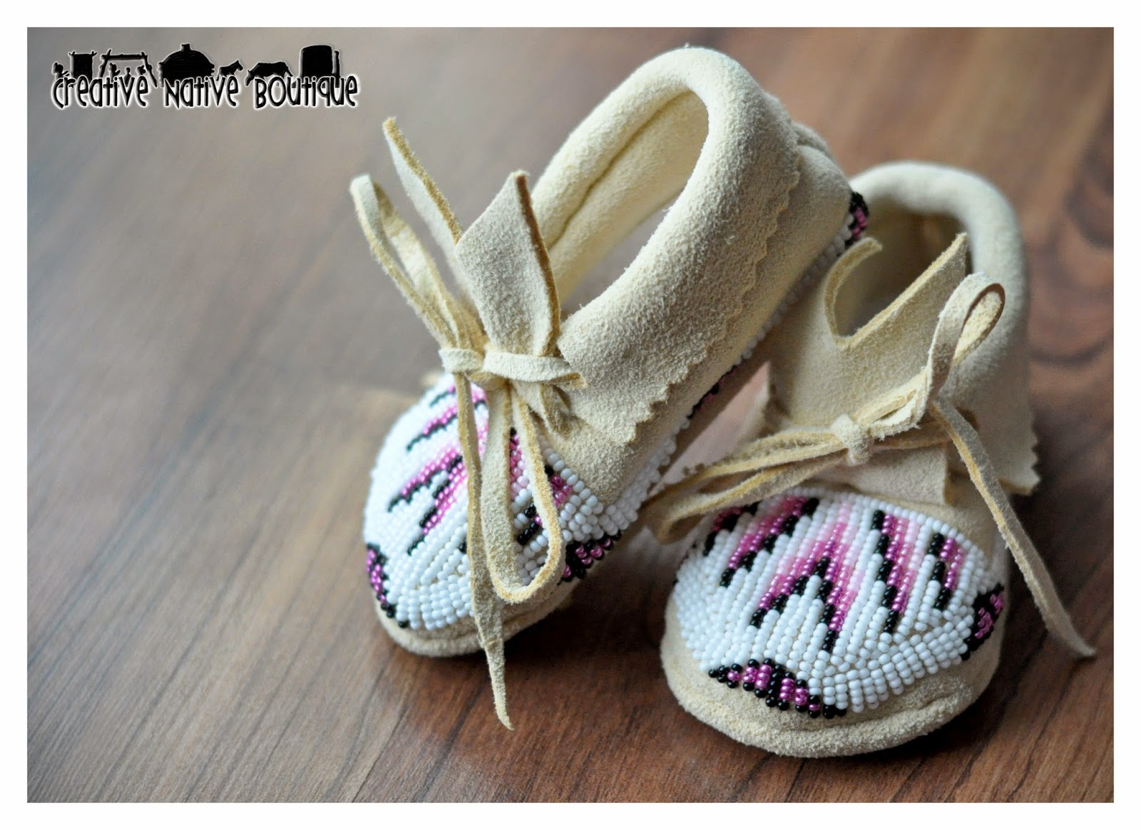creative boutique shoshone pink beaded baby moccasins