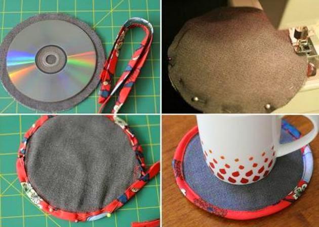 reciclar cds en posavasos con fieltro y cinta de bies