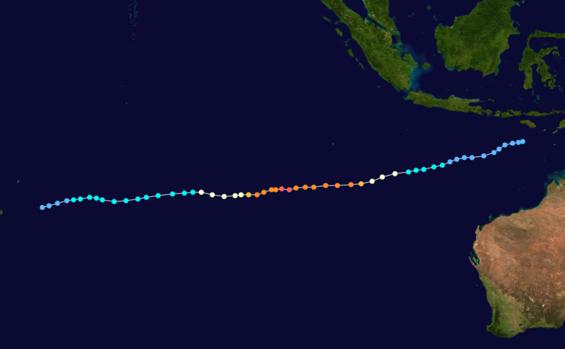 Trajectoire du cyclone tropical intense Evrina