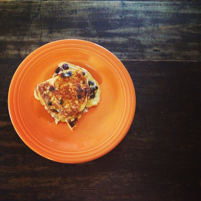 orange fiesta ware blueberry sour cream pancakes