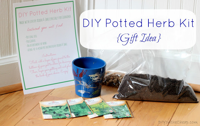 DIY Potted Herb Kit + Free Printable {Gift Idea via DIYontheCheap.com}