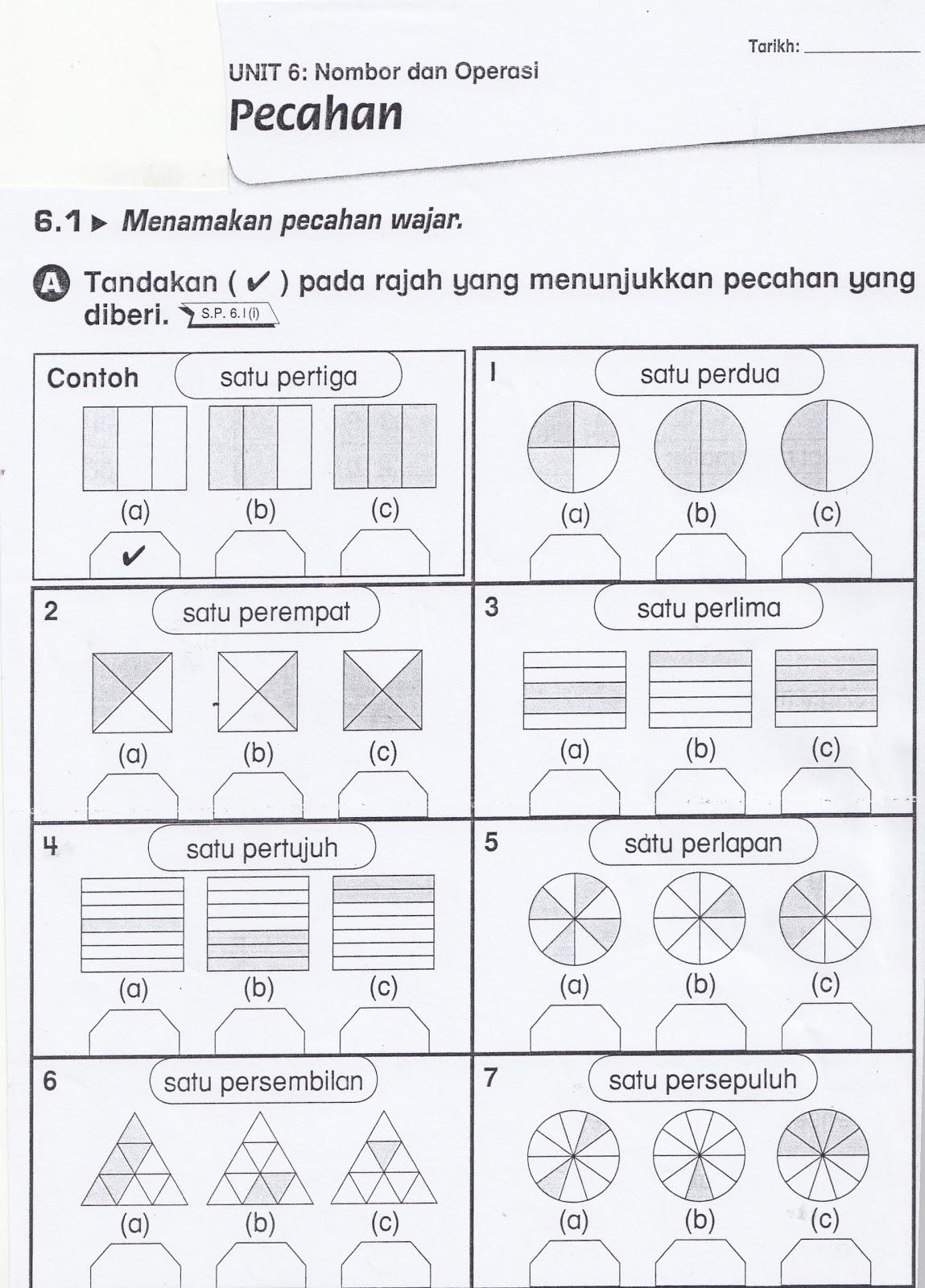 Sudut Matematik Lembaran Kerja 7 Pecahan