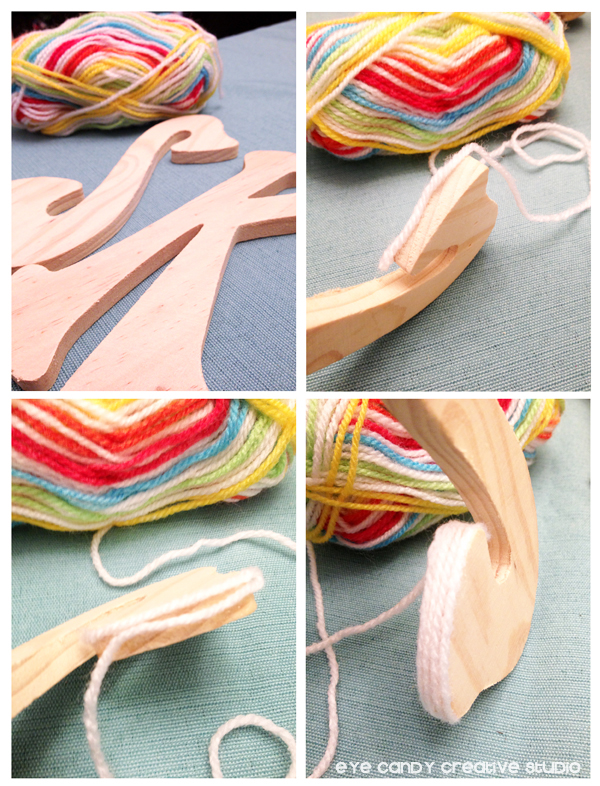 how to yarn wrap letters, rainbow yarn, wood letters, rainbow party craft