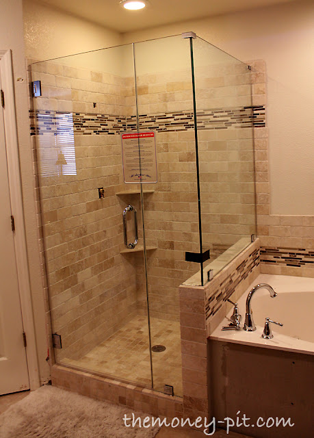 Master bathroom update the shower is done the kim six fix for Master bathroom glass doors