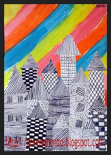 Tekenen en zo onder de regenboog for Huizen tekenen