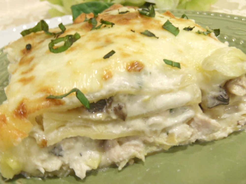 Chicken And Artichoke Lasagna In Creamy White Sauce