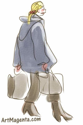 Family shoping is a gesture drawing by artist and illustrator Artmagenta fingerpainted on an iphone