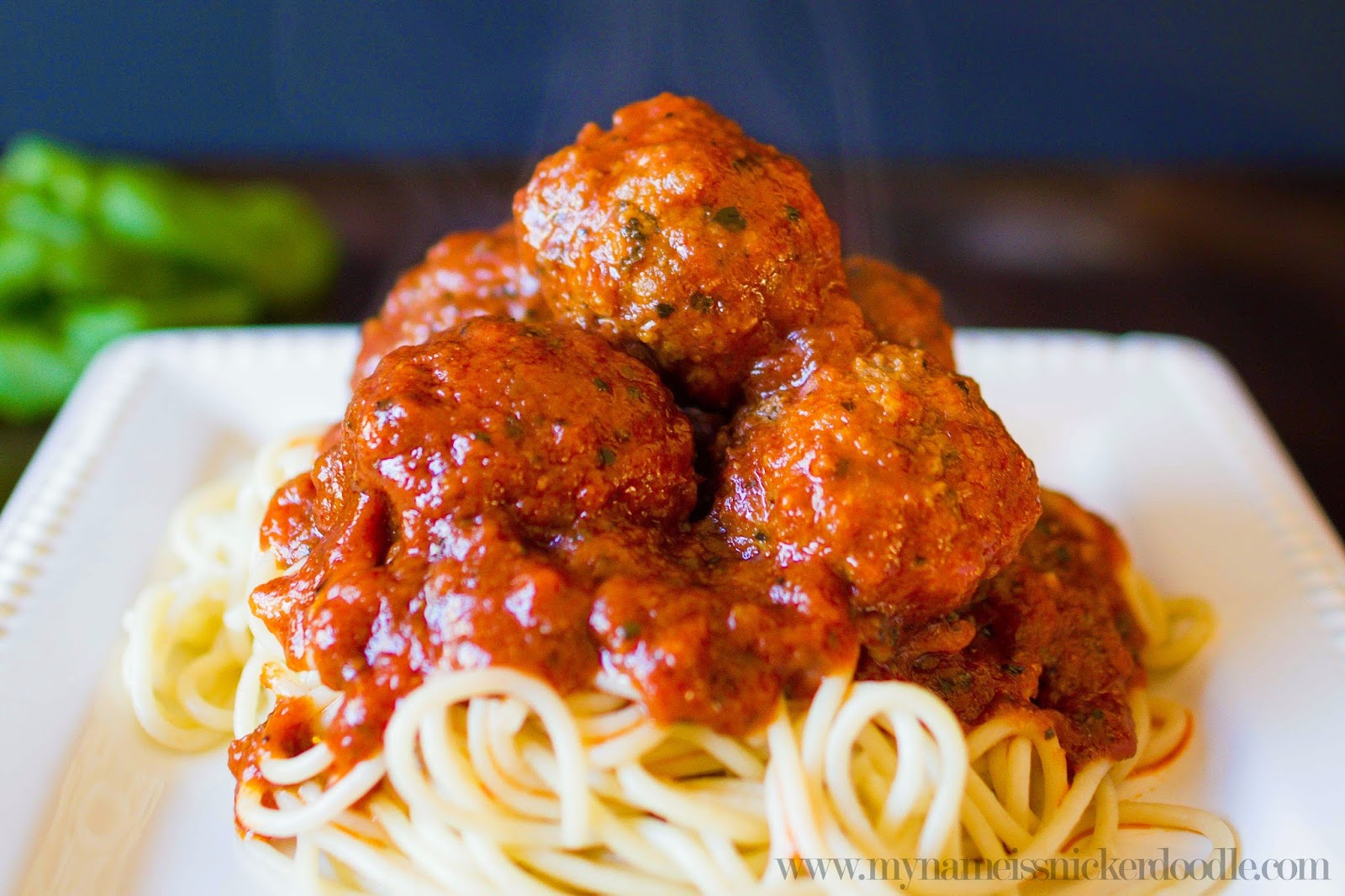 The best Spaghetti and Homemade Meatball recipe!  Super easy to make and your family will love it!     mynameissnickerdoodle.com