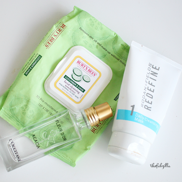 l'occitane fleur d'or acacia review, burts bees cucumber and sage, rodan+fields redefine mask