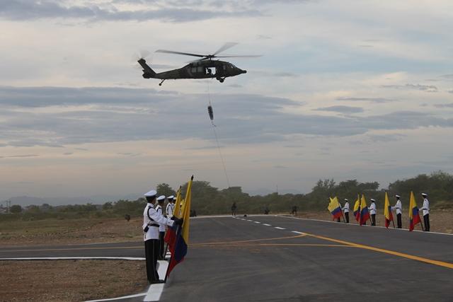 El Batallón de Movilidad y Maniobra de Aviación No 5 del Ejército Nacional cuenta desde ahora con una moderna plataforma aérea compuesta por un spot de aproximación, calle de rodaje y 5 helipuertos.