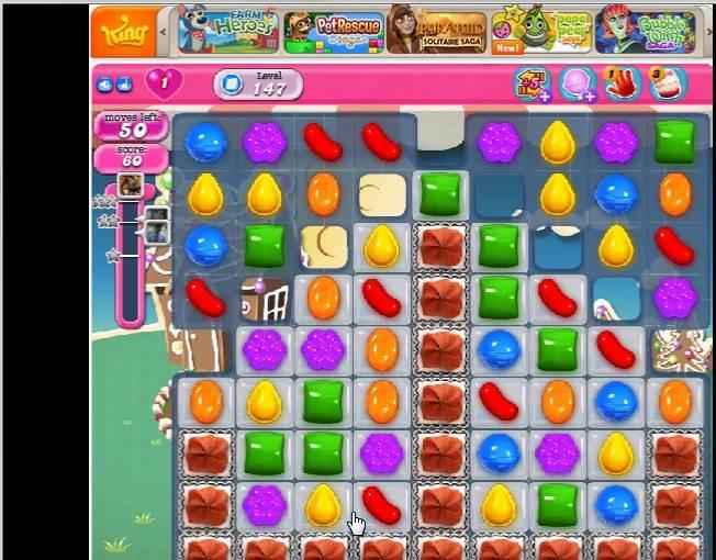 我怎么打 : 糖果粉碎传奇第147关 Candy Crush Saga Level 147
