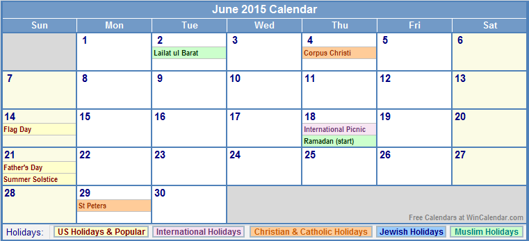 June Calendar Events : Free printable calendar june